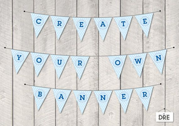 Banner - Baby Boy - Alphabet and Numbers - Party Printable - PDF file - Instant download