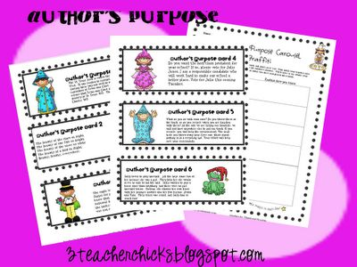 Free Author's Purpose Game on 3teacherchicks.blogspot.com