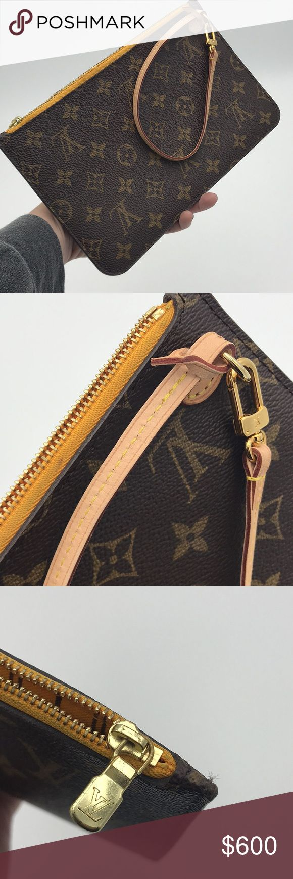 Louis Vuitton Pouchette with yellow interior neverfull mm pouchette with minor signs of wear in the interior as shown. Louis Vuitton Bags Clutches & Wristlets
