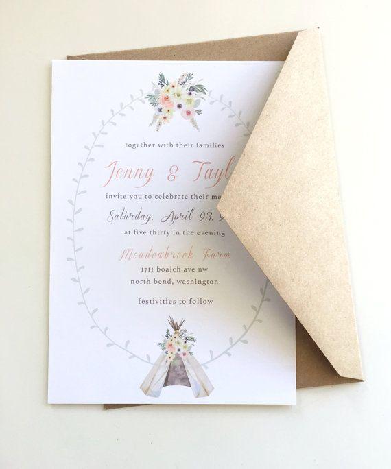 Rustic Floral Teepee Wedding Invitations by LemonInvitations