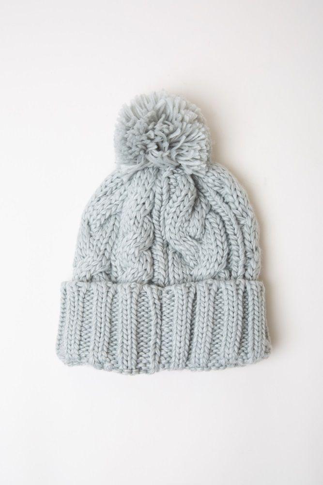 f3c14e9af6a Heather Grey Soft Cable Knit Pom Pom Beanie