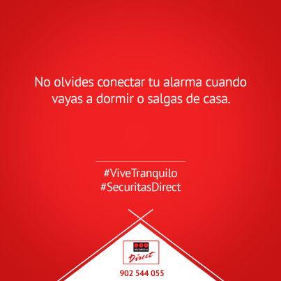 No olvides conectar tu alarma cuando vayas a dormir o salgas de casa #ViveTranquilo