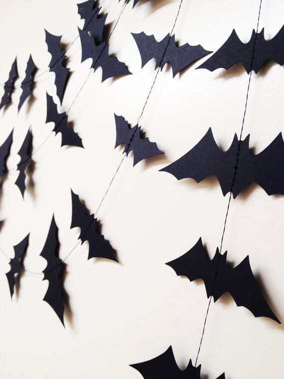 25 ft black paper bats garland halloween decoration