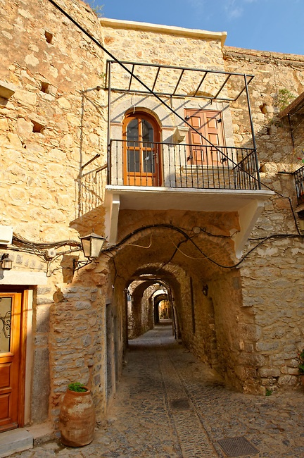 Medieval streets of the Genoese mastic fort village of Mesta, Mastichochoria area of Chios Island, Greece.
