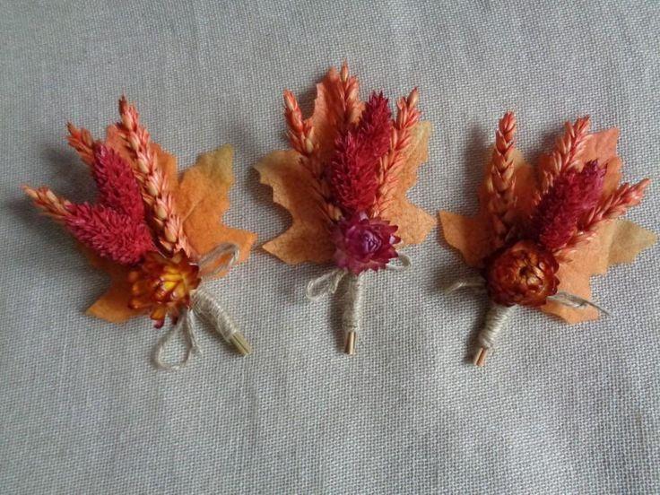 Őszi narancs szárított búza boutonniere meghatározott -6 násznagy esküvő boutonniers rusztikus vőlegény esküvői dekoráció szüreti ország, erdő boutonniere