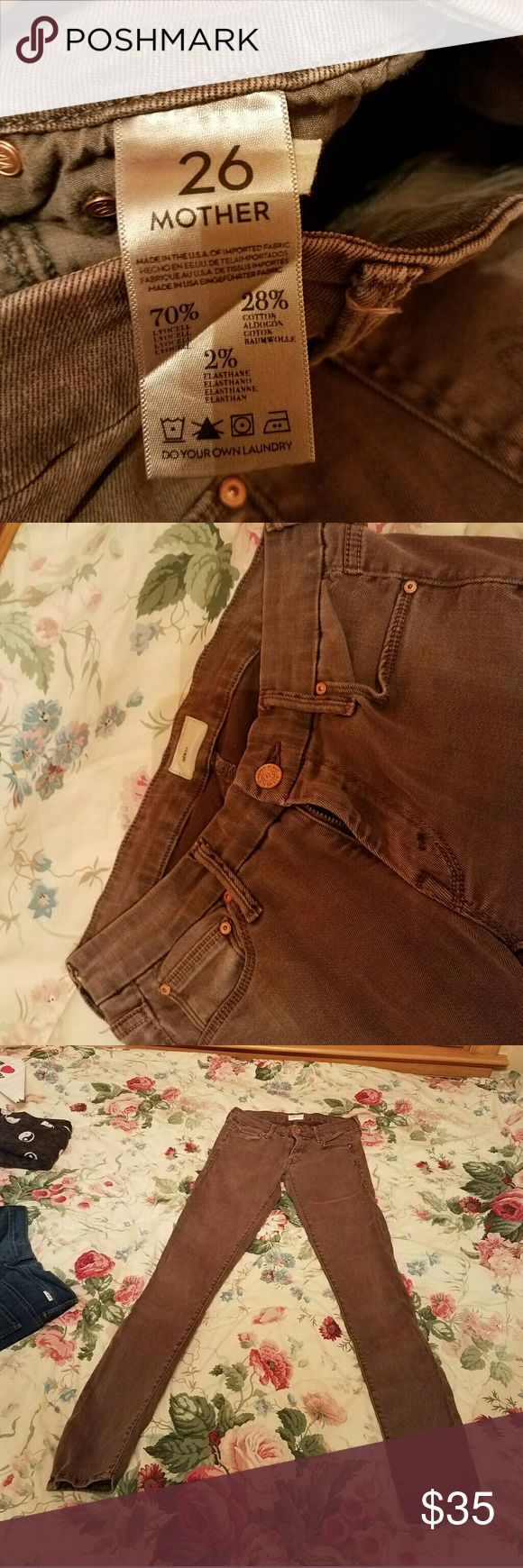 "Mother jeans Size 26 brown ""the looker"" style I'm am selling these jeans ""jegging fit but true jean material 70% lyocell, 28% cotton, and 2% elastane. Feels soft like a jegging, fit like a jegging, but the sewing and look are like regular jeans. I am normally anywhere from a 0 to a size 2 and these fit no matter what because of their natural spandexy nature. I bought them from nord rack when I went through a colored jean phase. Straight leg cut/tapers a bit MOTHER Jeans Straight Leg"