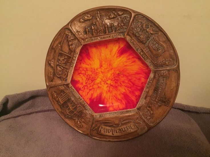 "Walt Disney 8"" Ceramic Plate With Orange Center  | eBay"