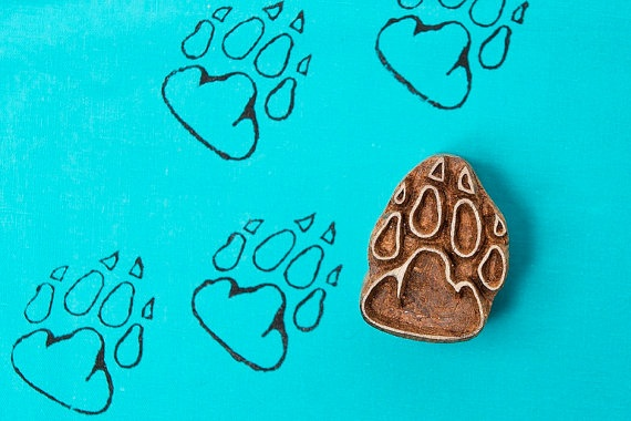 Paw patterned wood block stamp by BLOCKWALLAH on Etsy, $9.75