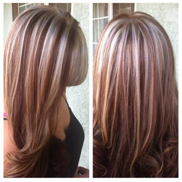 platinum & red #highlights ♥: Hairs Highlights, Brown Highlights ...