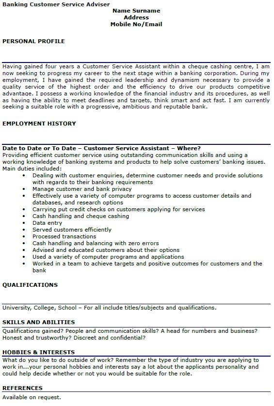 Banking Customer Service Adviser Cv Example Lettercv Service Advisor Cv Template Customer Service Resume