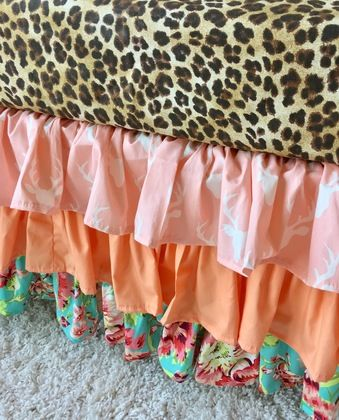 Pink Deer, Peach, and Coral Floral Ruffled Crib Skirt