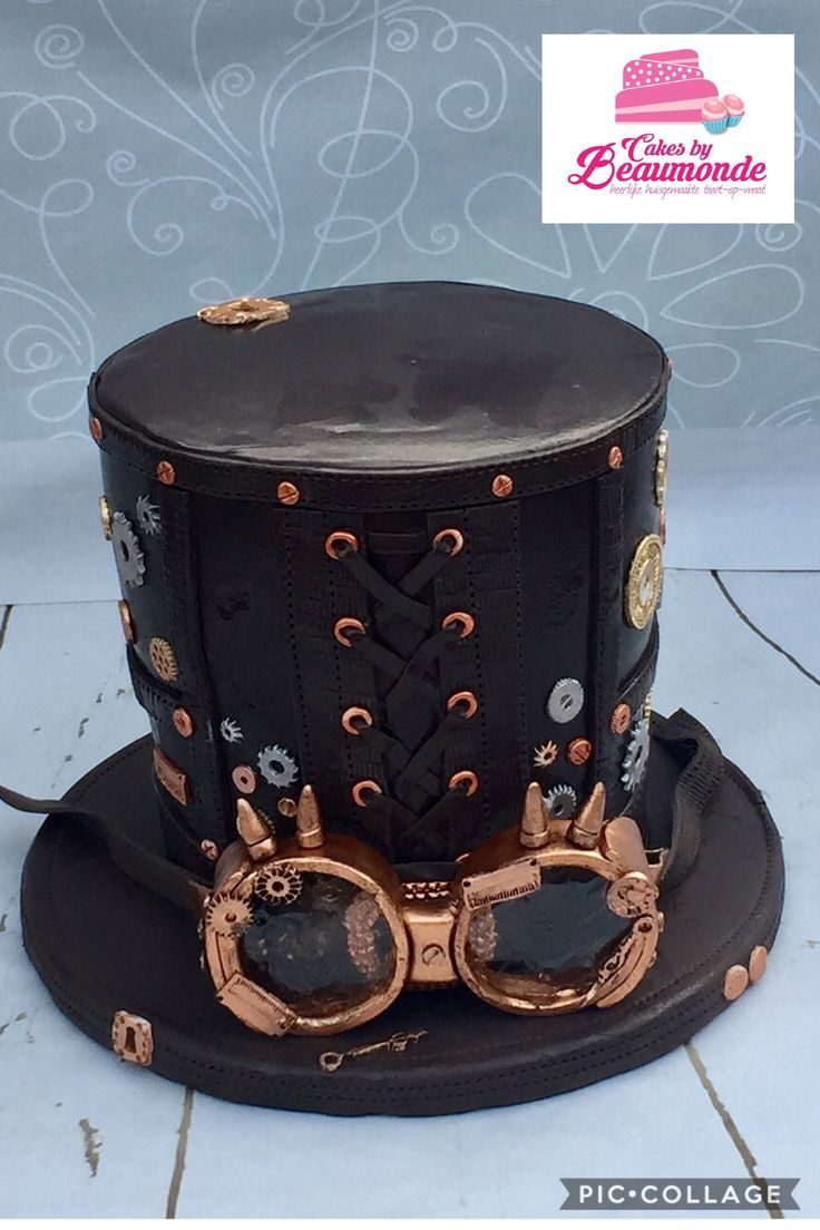 Steampunk hat cake with goggles / hoed taart met bril. Double barrel.