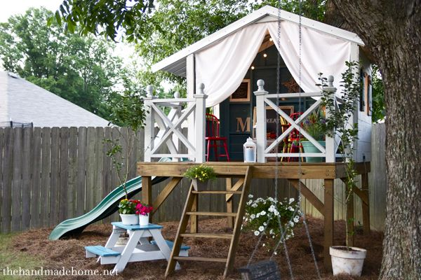 treehousePlayhouses Ideas, Awesome Playhouses, Kids Treehouse Ideas, Plays House, Tree Houses, Kids Gardens, Trees House, Outdoor Playhouses, Play Houses