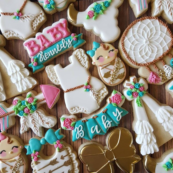 """582 Likes, 63 Comments - Sarah Robertson (@sugarcrushcookiessarah) on Instagram: """"Doesn't get much sweeter than this! I love baby shower cookies. #boho #tepee #arrow #feathers…"""""""