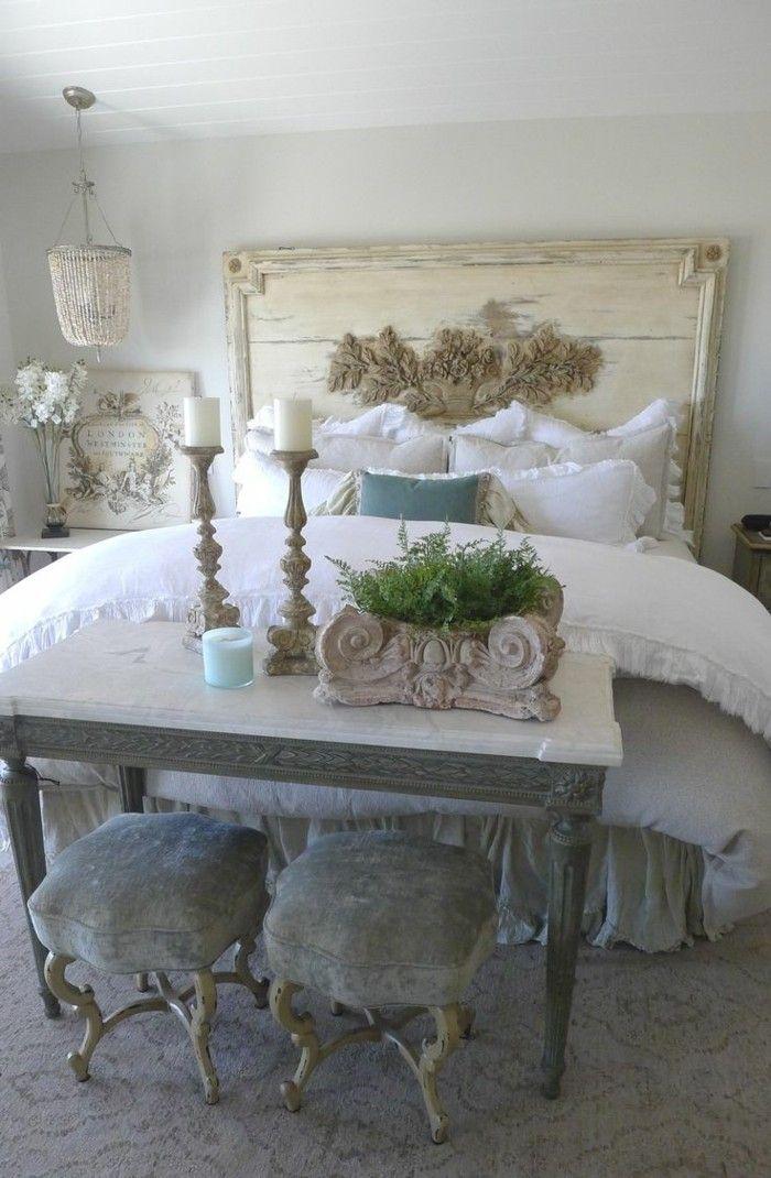 einrichtungsideen französischer landhausstil schlafzimmer weiße bettwäsche