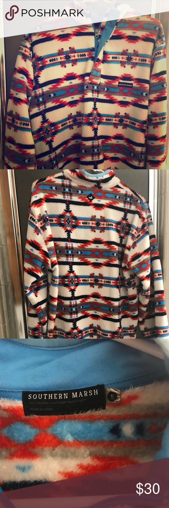 Southern Marsh: Red, Blue, and White Pullover Southern marsh pullover. Men's small (fits big on women). No major damage. southern marsh Tops Sweatshirts & Hoodies