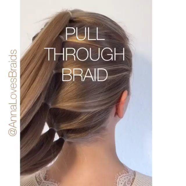 """وفا 𝓴𝓱𝓪𝓷 on Instagram: """"The classic pull-through braid! 🎀One of my most popular tutorials and such a versatile technique – swipe t…"""