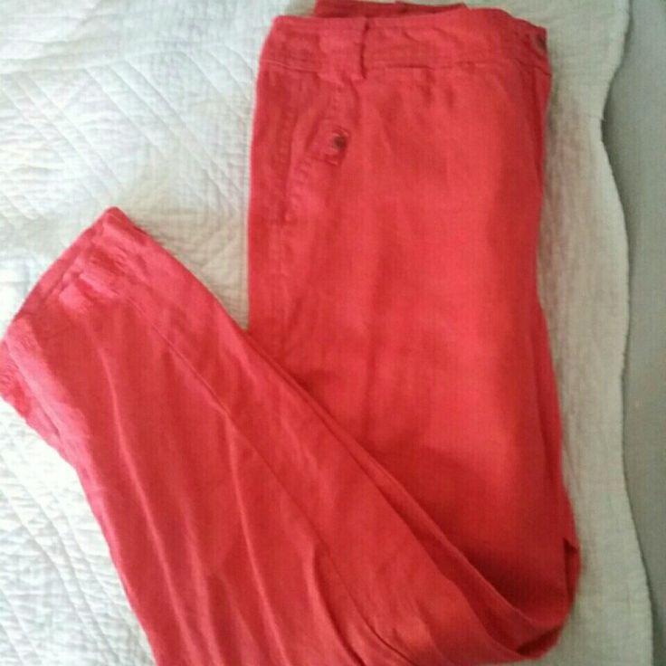 Pantalon lin ROUGE coquelicot 🌺 T 40/42