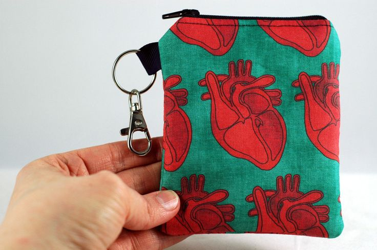 Coin purse with pink & red anatomical hearts and lovely teal background will carry your change, gift cards, lip balm, cash and ID! by StellarEvolutionD on Etsy