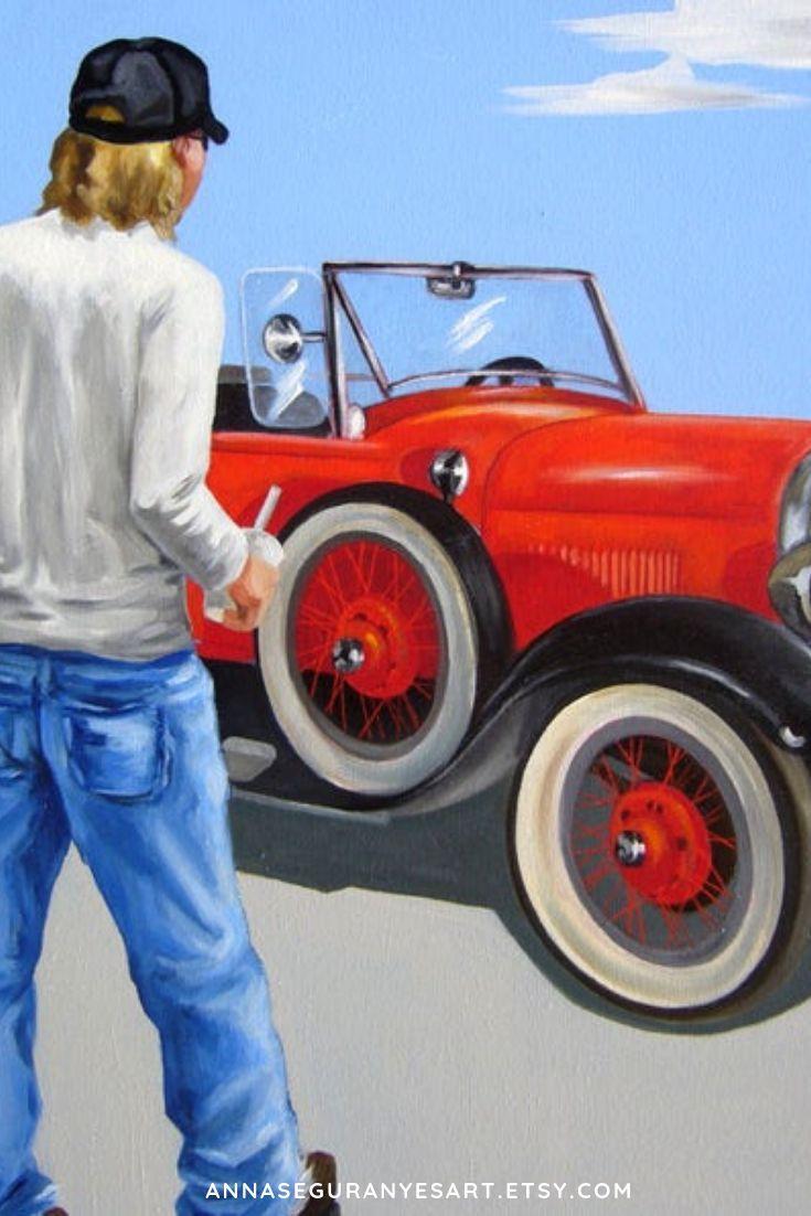 Pintura al oleo joven y coche antiguo, joven y coche rojo, Pintura al oleo coche…