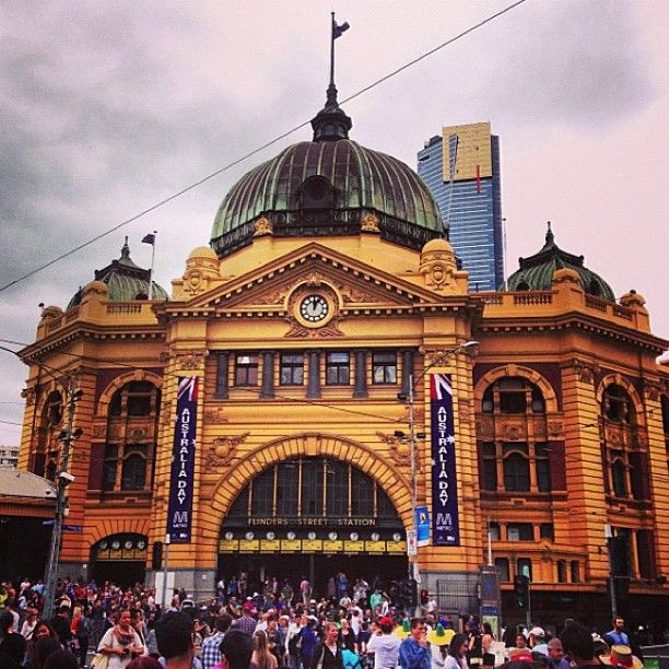 Happy Australia Day (26th January) - Flinders st station #Melbourne #Australia day 2013
