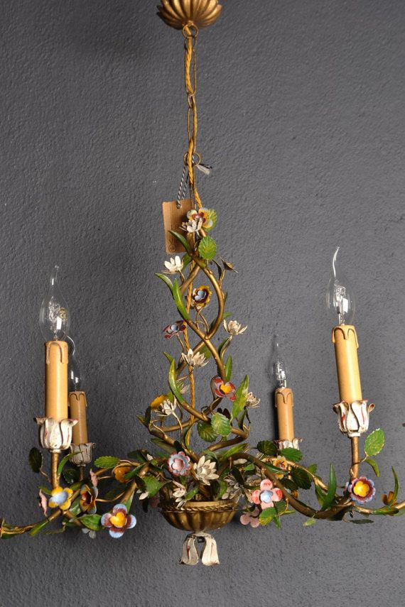 Rare Old Tole Flower Chandelier Found In France This Is A