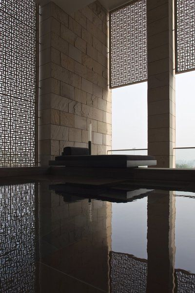 | DETAIL | Photo Credit - #AmanHotel - #NewDelhi, #KerryHill - screen material instead of glass between kids study & staircase