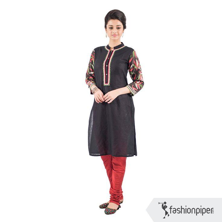#Black beauty kurta  Order here: http://www.fashionpiper.com/women/indian-wear/kurti/black-beauty-kurta-1604.html
