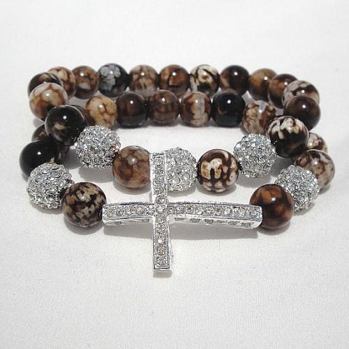 $29.99 Leopard Agate Sideways Cross Bracelet Set