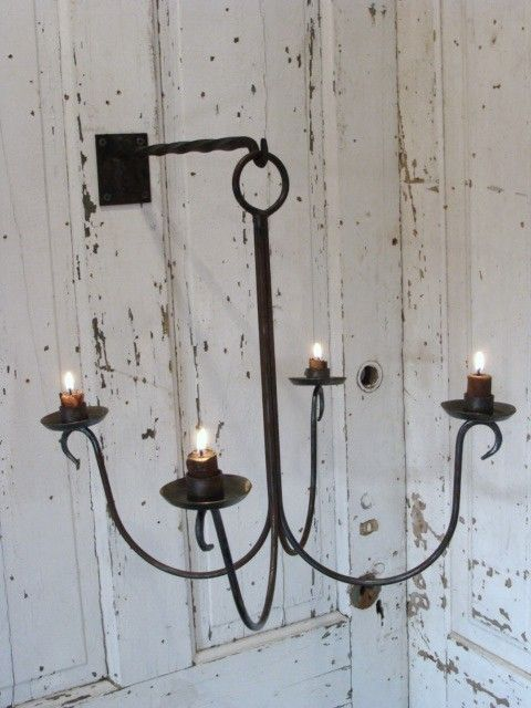 Hanging Steel Chandelier Candle Holder Forged by baconsquarefarm, $100.00