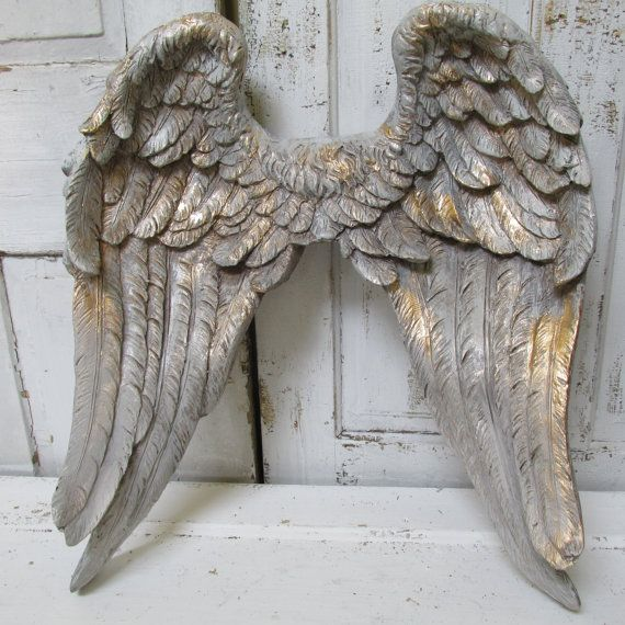 large angel wings wall decor hand painted putty gray accented gold ornate detailed sculpture. Black Bedroom Furniture Sets. Home Design Ideas