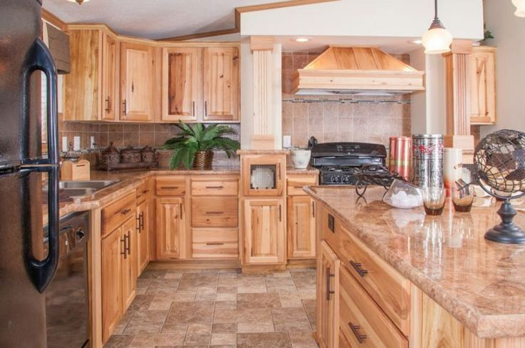 Large Kitchen With Ceramic Floor Tiles And Hickory Cabinets