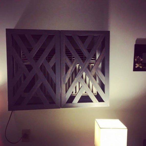Ac Unit Cover Made To Fit Geometric Design Rustic Wall Etsy Ac Unit Cover Air Conditioner Cover Wall Ac Unit