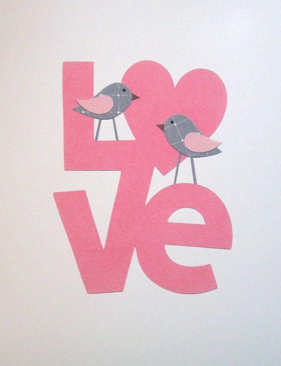 Kids Wall Art, Children's Art Decor, Baby Room Decor, Baby Girl, Pink, Gray, LOVE Birds, 8x10 Print. $14.00, via Etsy.