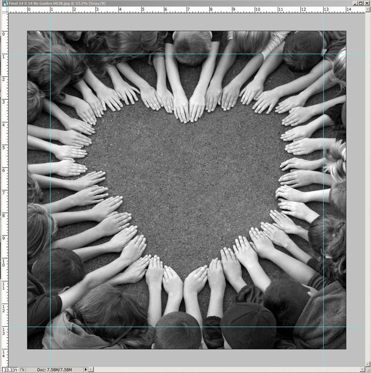 A heart, the universal symbol of love. This idea was used for our school's annual Gala. To create this adorable B&W photo, children had to lay on the ground, hands in place, faces down. The picture was taken above from a step ladder. The final auction piece was cropped to show mainly the hands and arms (no faces). The more children the more challenging--the center of the heart can look too empty and also getting them all to stay still! With less children, you can use a table top.
