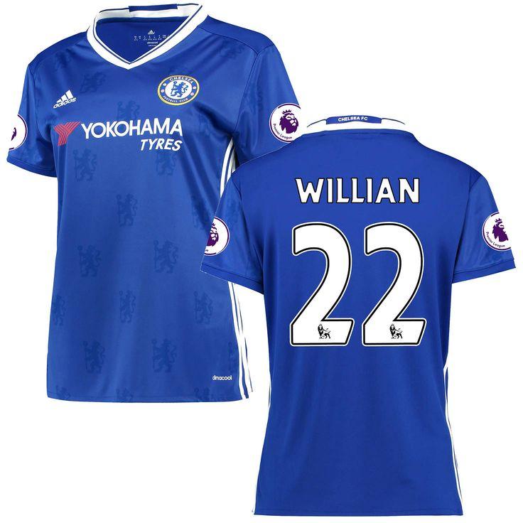 Women's adidas Willian Borges da Silva Blue Chelsea 2016/17 Replica EPL Badge Home Jersey - $114.99