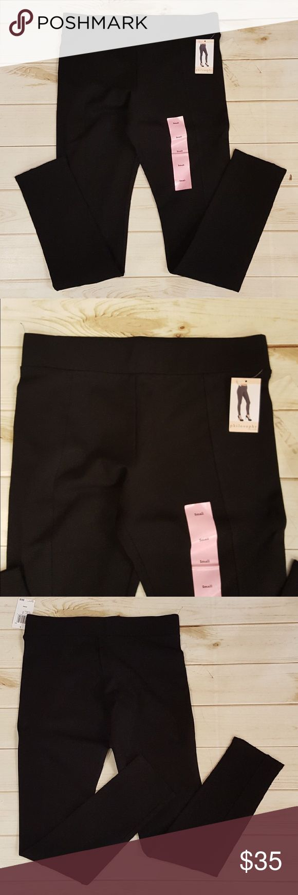 Philosophy women's black leggings! Size small. NWT Thick leggings with slimming lines down the legs! (P 236) Philosophy Pants Leggings