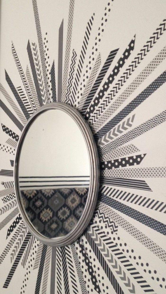 wanddeko selber machen wanddekoration ideen spiegel mit grauen waschi tapes