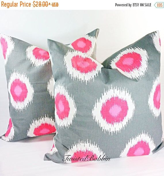 On Sale Gray and Pink  Cushion  Covers  by TwistedBobbinDesigns