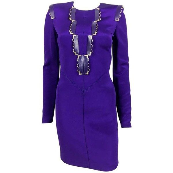 Preowned 2010s Versace Royal Purple Body Hugging Tail Dress 3 980 Brl Liked