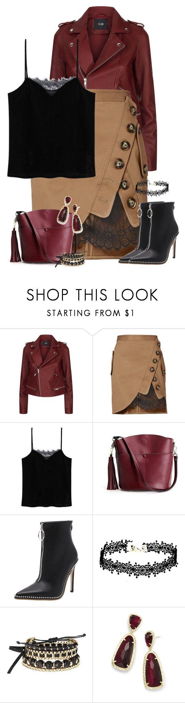 """Leather Jacket & Lace Utility Skirt"" by majezy ❤ liked on Polyvore featuring Maje, self-portrait, MANGO, Avon and Kendra Scott"