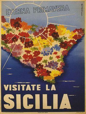 Sicily Sicilia Italy Fine Italian Vintage Travel Poster #Springinsicily #YummySicily