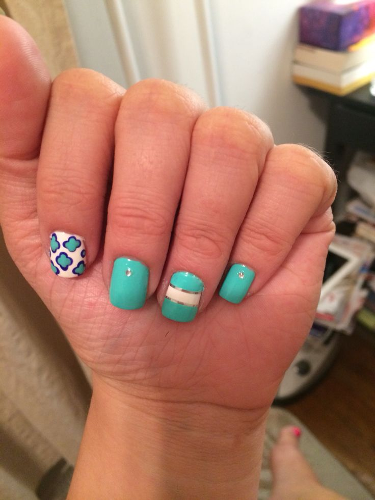 Summer turquoise nails studded and styled!