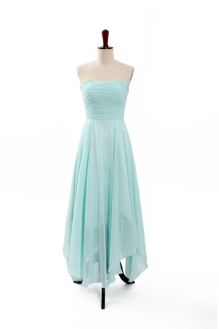 Fresh strapless asymmetrical hemed chiffon made dress