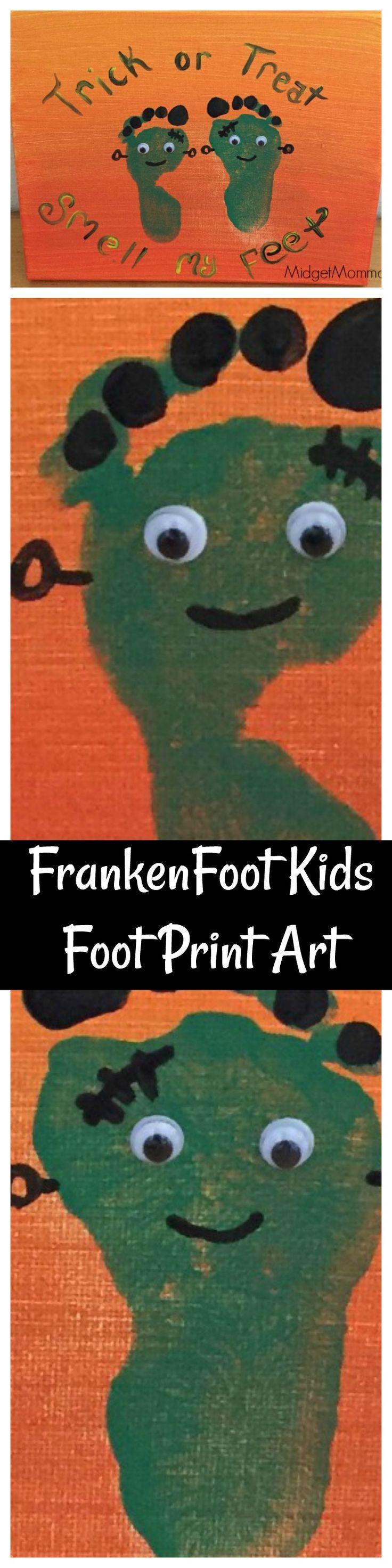Avalisa letter upper case t stretched wall art - Frankenfoot Kids Foot Print Art Halloween Craft