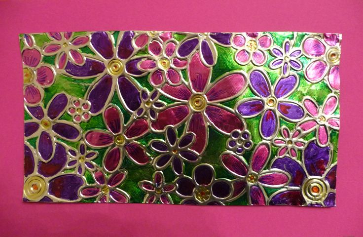 foil tray, draw flowers on wrong side and then turn over and color with permanent markers