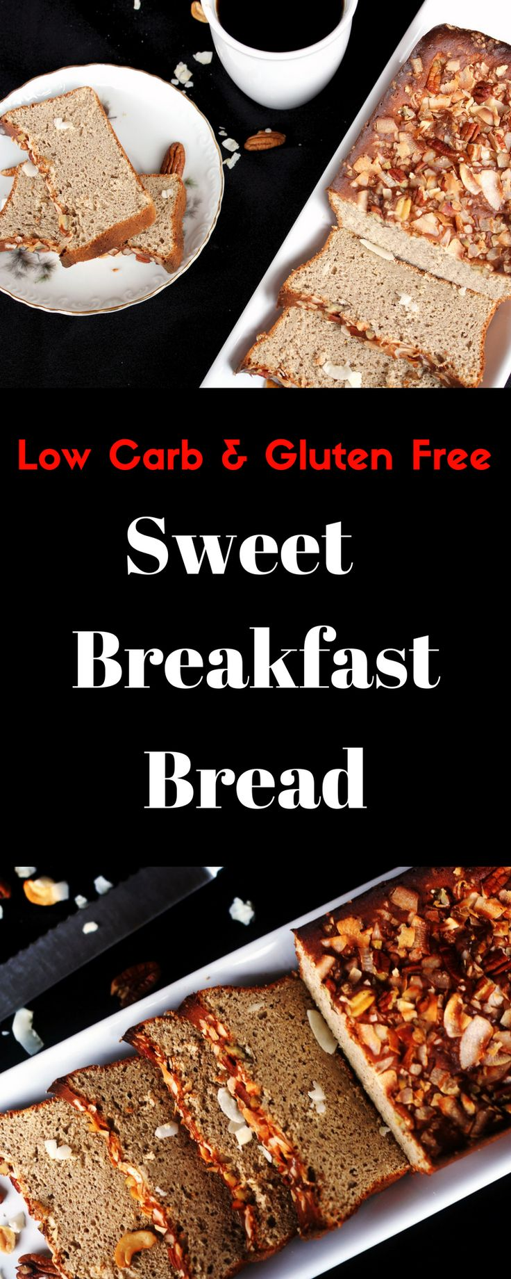 This slightly sweet breakfast bread is low carb, sugar and gluten free and works well in Keto and the Trim Healthy Mama Diets.