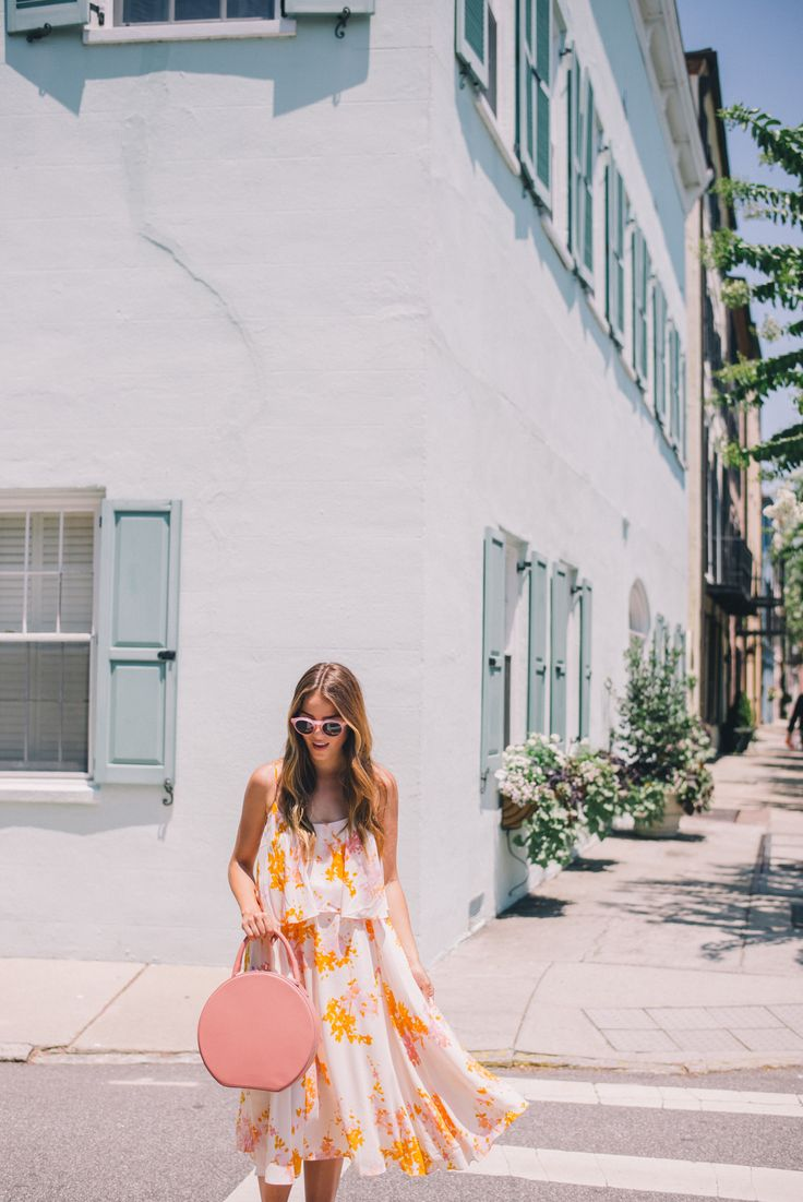 Gal Meets Glam The Colors of Charleston - Paper Crown dress, Mansur Gavriel bag, and Illesteva sunglasses