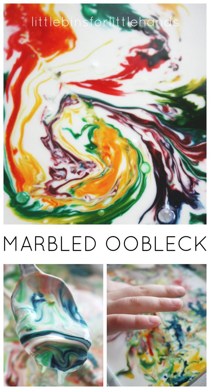 Make simple marbled oobleck for science learning! Marbled oobleck is also a great sensory play activity made from simple kitchen ingredients.