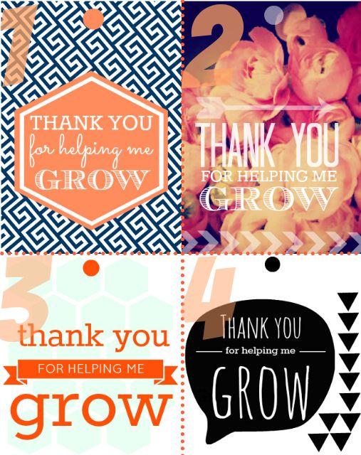 Thank you for helping me grow free printable tags